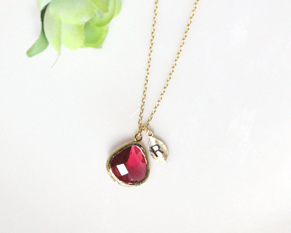 Leaf initial ruby crystal pendant necklace stone in bezel initial leaf initial ruby crystal pendant necklace stone in bezel initial necklacebirthstone of july aloadofball Image collections