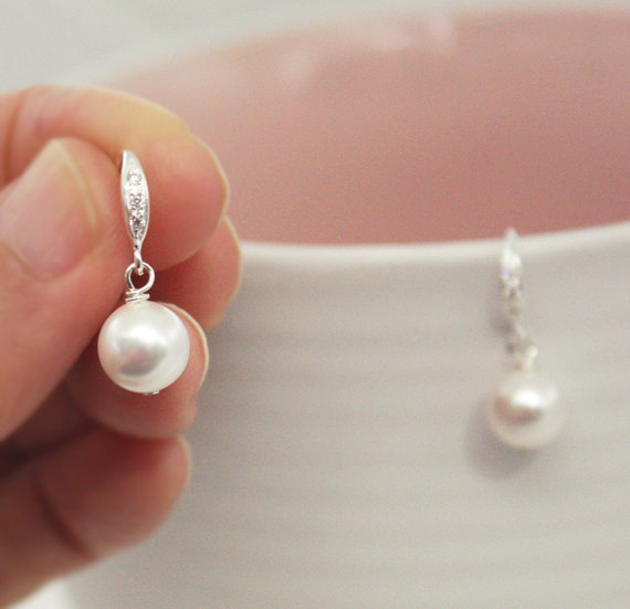 White Pearl Earring Swarovski Bridesmaid Gifts Wedding Earrings 925 Sterling Silver