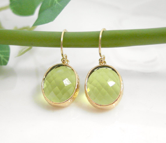 glass in green dangle drop olive product earrings gorgeous peridot stone bridesmaid bezel twisted hugerect earring gifts wedding