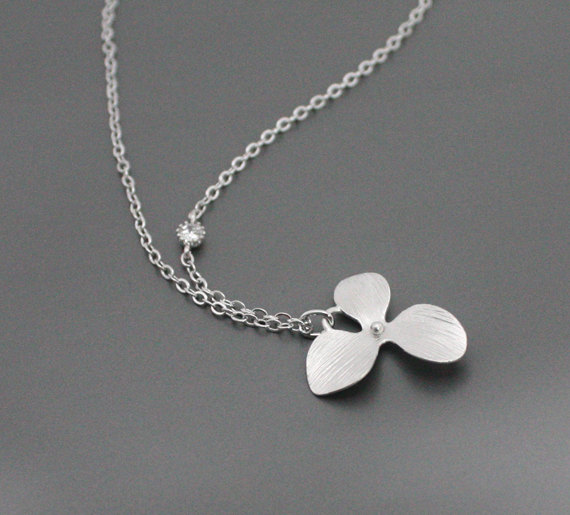 Tiny Orchid Necklace With Crystal Simple Cute Simple Necklace