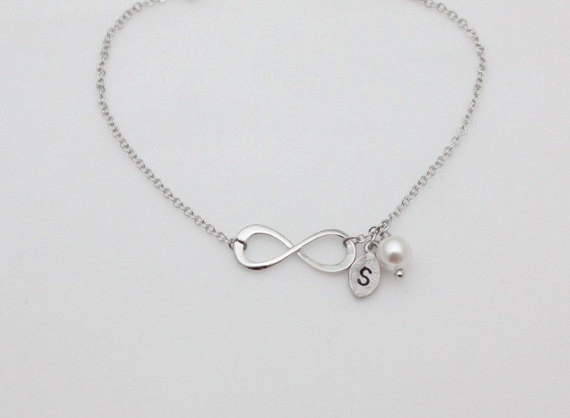 Sterling Silver Infinity Bracelet Initial Personalized Swarovski Pearl Bridesmaid Gift Wedding