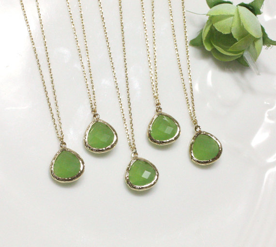 Bridesmaid gifts set of 5 green pendant necklace apple green bridesmaid gifts set of 5 green pendant necklace apple green stone in bezel aloadofball Gallery
