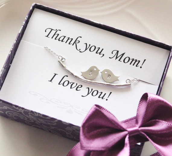 0c45c810c211c Mothers Day Gift - Thank You Card With Two Bird Initial Necklace,  Personalized Initial Jewelry, Family Necklace, Mom Jewelry, Gifts For Mom