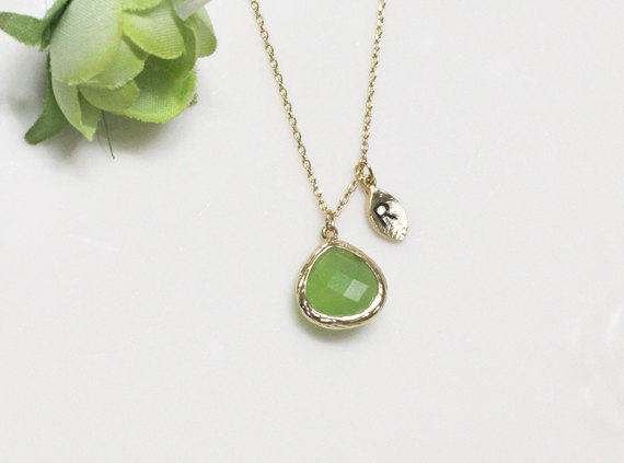 Leaf initial green crystal pendant necklaceapple green stone in leaf initial green crystal pendant necklaceapple green stone in bezel initial necklace aloadofball Gallery