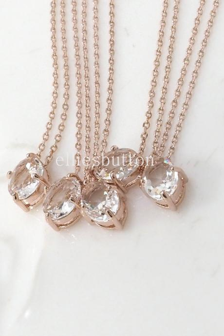 Bridesmaid gifts - Set of 7, 8, 9 - Clear crystal necklace, rose gold necklace, stone in bezel, wedding jewelry