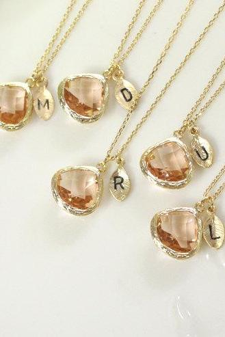 10% off Bridesmaid gifts - Set of 5, 6 -Leaf initial,Champagne pendant necklace, rose gold necklace, Peach necklace, birthstone necklace