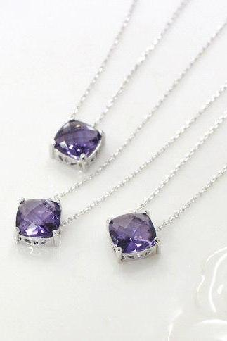 Bridesmaid gifts - Set of 5 - purple necklace, purple stone necklace, bridesmaid necklace,glass stone