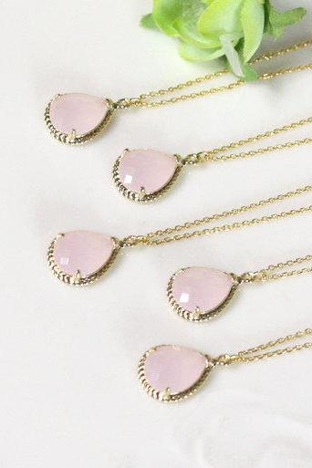 Bridesmaid gifts - Set of 7 - Pink crystal pendant necklace, Gorgeous Drop ,stone in twisted bezel, light pink, B0083-G