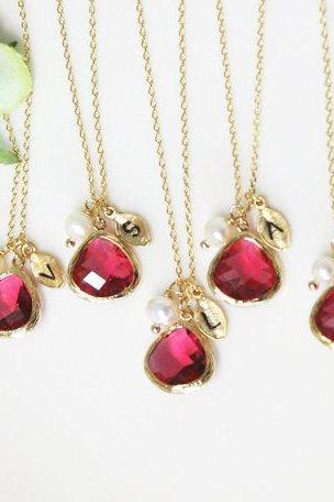 Bridesmaid gifts - Set of 5 -Leaf initial, Ruby crystal pendant necklace, with Swarovski pearl,stone in bezel, Initial necklace