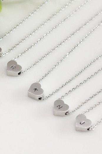Bridesmaid gifts - Set of 7 - Heart initial necklace, Personalized necklace, white gold plating