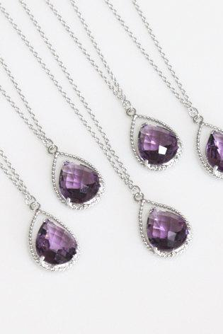 Bridesmaid gifts - Set of 6 - Amethyst purple crystal drop necklace, Gorgeous Drop ,stone in twisted bezel