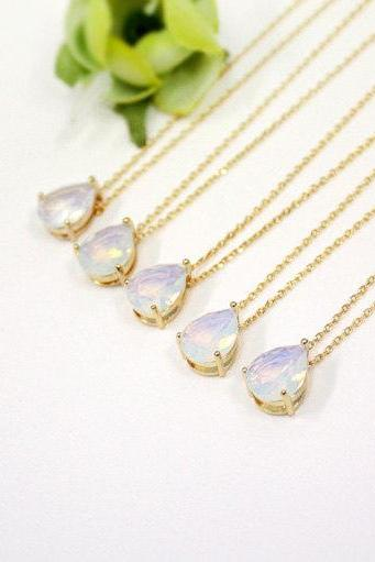 Bridesmaid gifts - Set of 4 -Moonstone crystal drop necklace, Gorgeous Drop,stone in bezel,raindrop Necklace,white opal, opal pendant