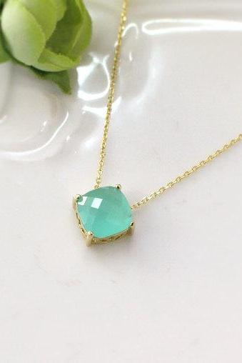 Mint crystal necklace, stone in bezel, wedding, bridesmaid necklace, glass stone